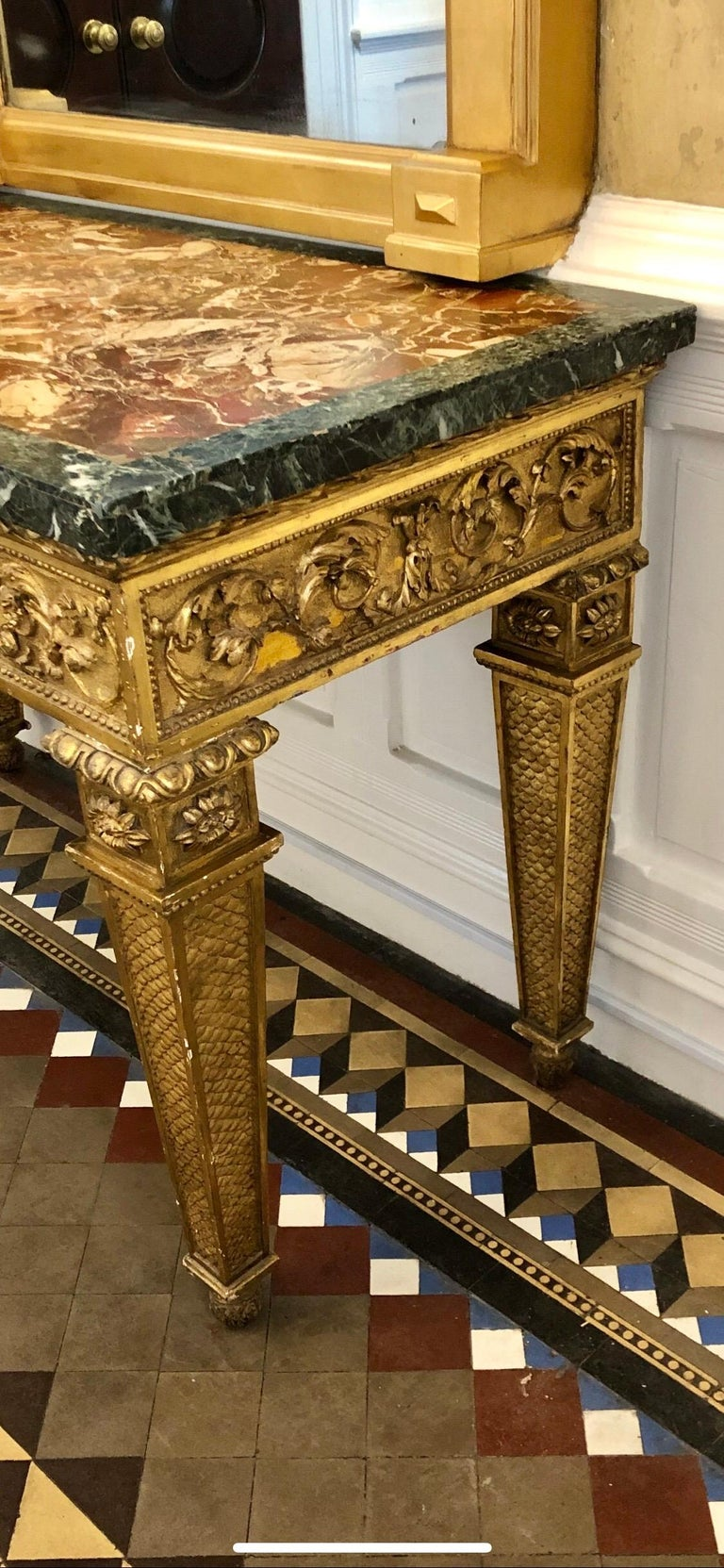 18th Century, Italian Giltwood Console Table with Original Marble Top For Sale 8