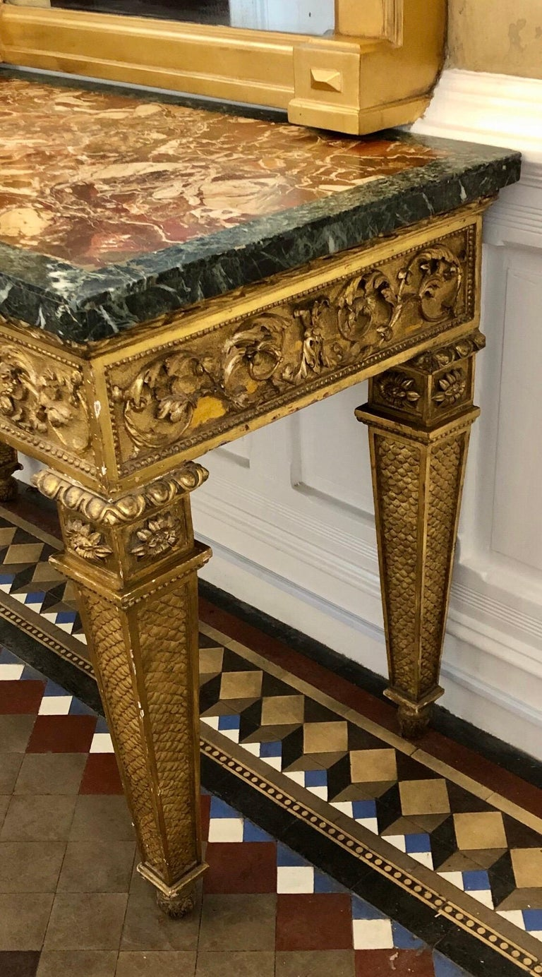 18th Century, Italian Giltwood Console Table with Original Marble Top For Sale 9