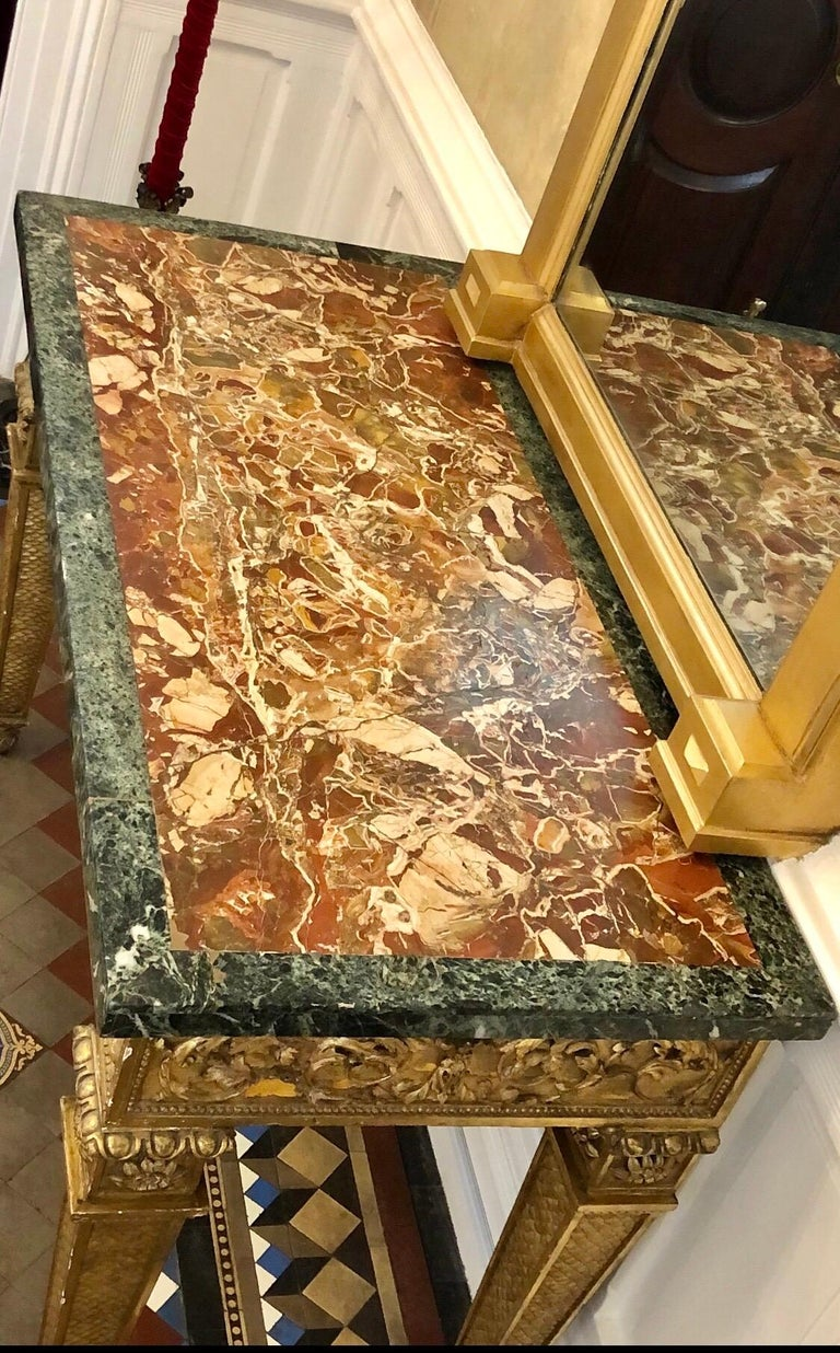18th Century, Italian Giltwood Console Table with Original Marble Top For Sale 10