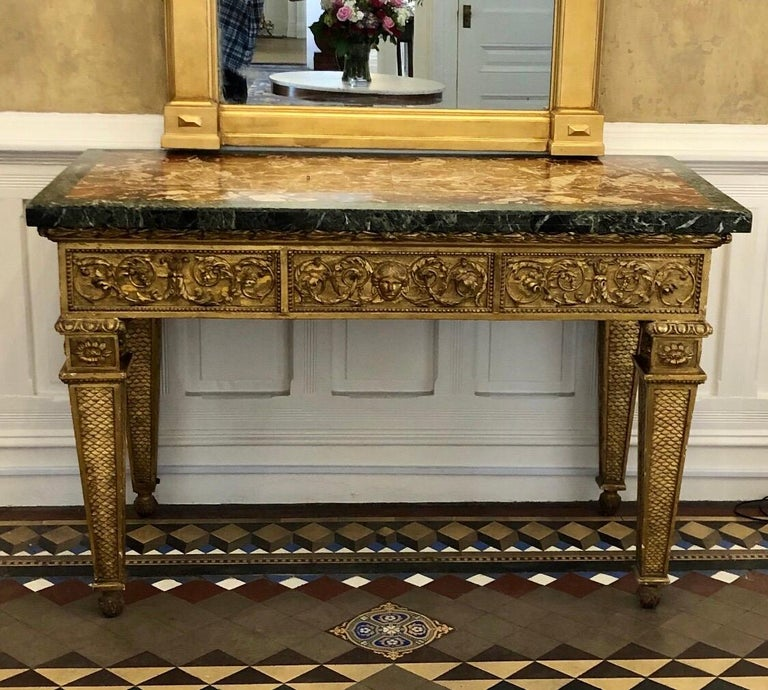 18th Century, Italian Giltwood Console Table with Original Marble Top For Sale 13