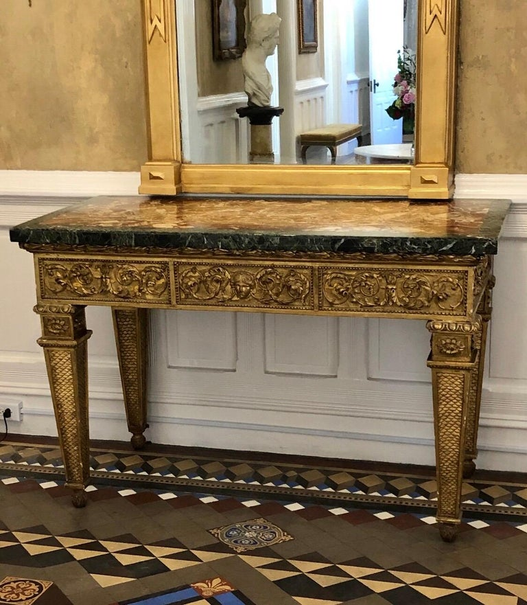 Neoclassical 18th Century, Italian Giltwood Console Table with Original Marble Top For Sale