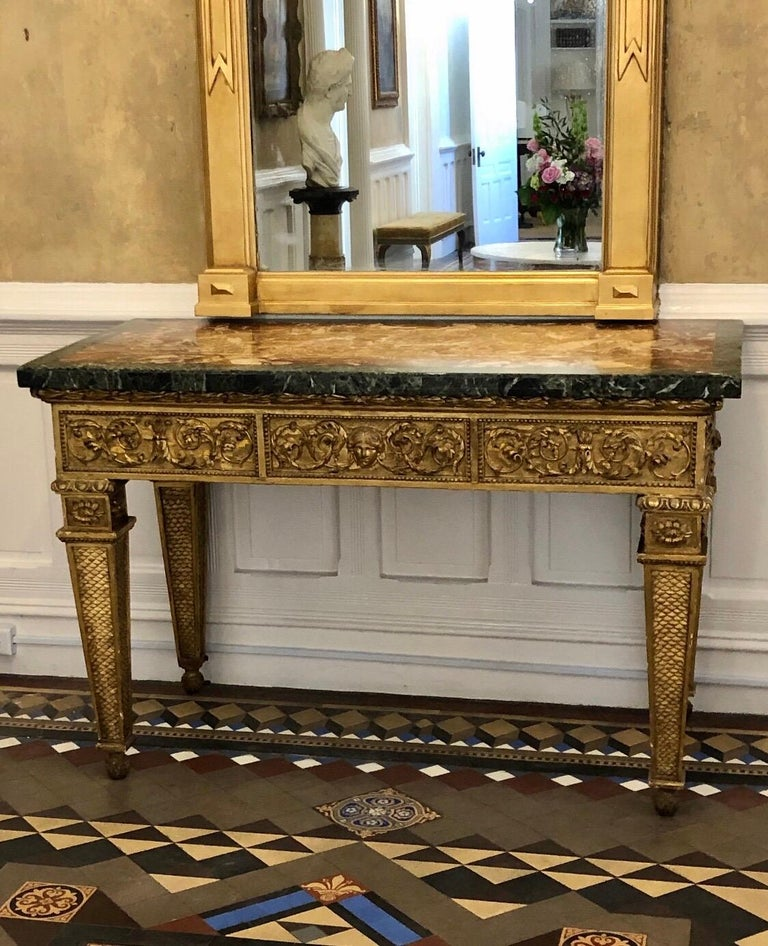 18th Century, Italian Giltwood Console Table with Original Marble Top In Good Condition For Sale In Charleston, SC