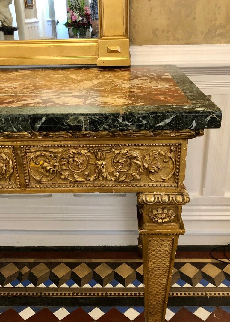18th Century, Italian Giltwood Console Table with Original Marble Top For Sale 2