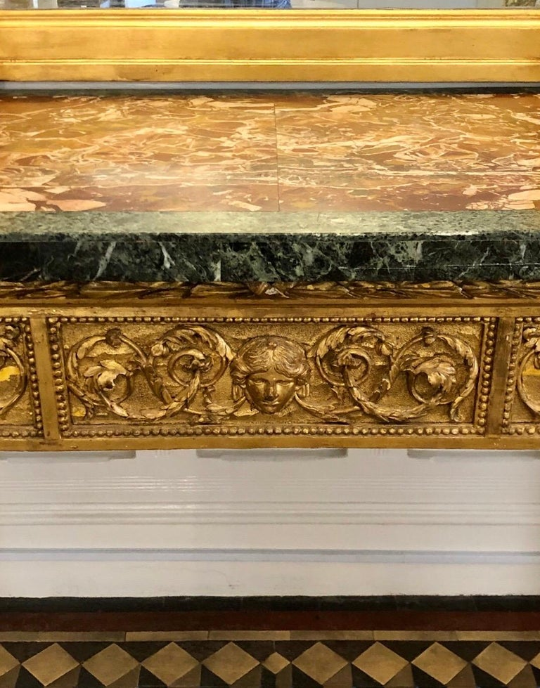 18th Century, Italian Giltwood Console Table with Original Marble Top For Sale 3