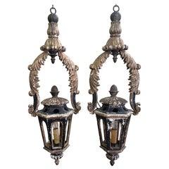 Pair of Antique Italian Gold Leaf and Black Lanterns