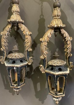 18th Century Italian Gold Leaf and Black Painted Lanterns