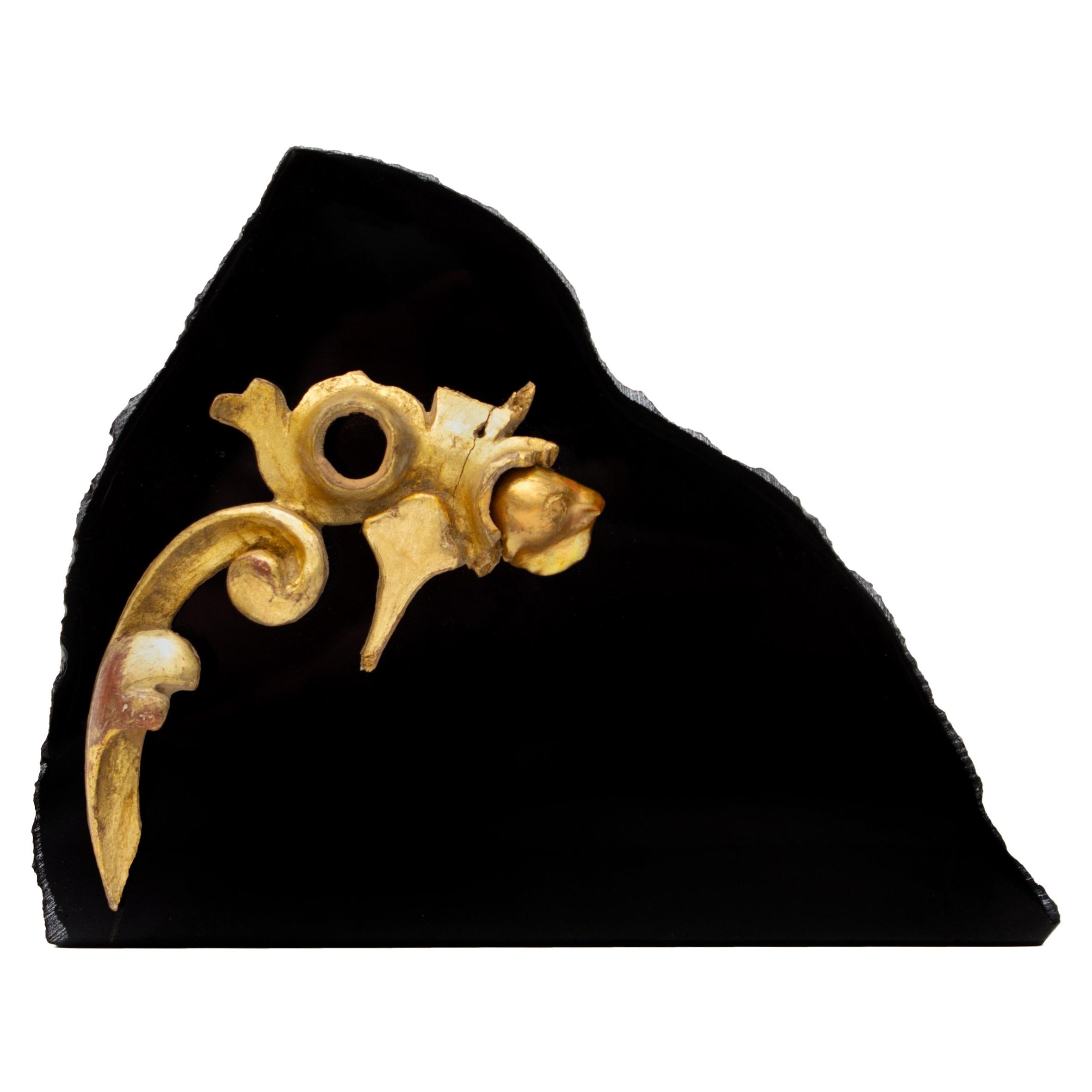18th Century Italian Gold Leaf Fragment with Baroque Pearl on Obsidian Mineral