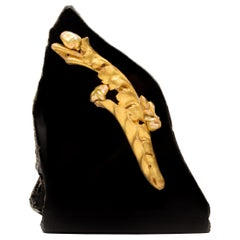 18th Century Italian Gold Leaf Fragment with Baroque Pearls on Obsidian Mineral