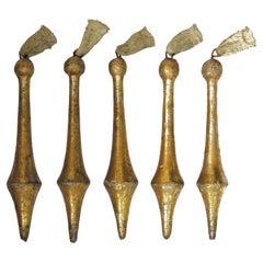 18th Century Italian Gold Leaf Rococo Tassel Ornaments 'Group of 5'