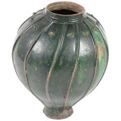 18th Century Italian Green Glazed Storage Jar, Large Scale