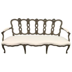 18th Century Italian Grey Painted Rococo Sofa or Settee