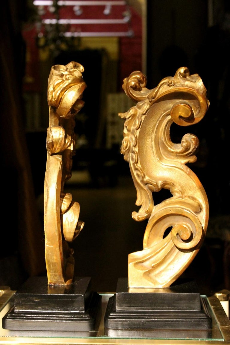 18th Century Italian Hand Carved Architectural Giltwood Fragments on Black Stand For Sale 3