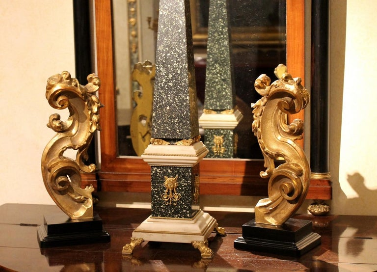 18th Century Italian Hand Carved Architectural Giltwood Fragments on Black Stand For Sale 8