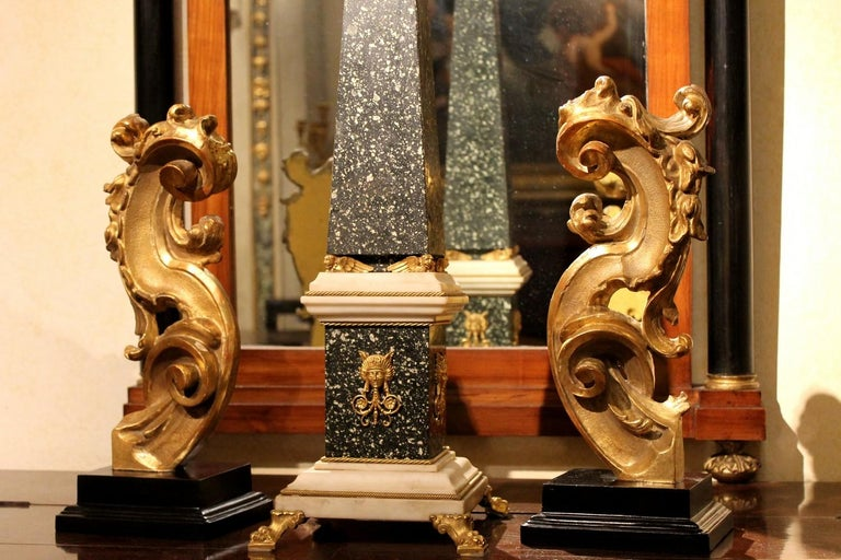 18th Century Italian Hand Carved Architectural Giltwood Fragments on Black Stand For Sale 9
