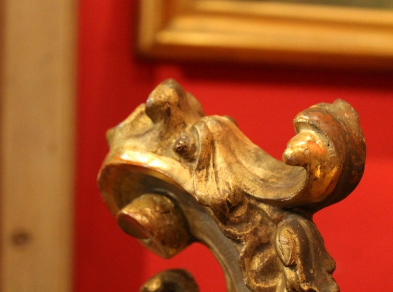 18th Century Italian Hand Carved Architectural Giltwood Fragments on Black Stand For Sale 10