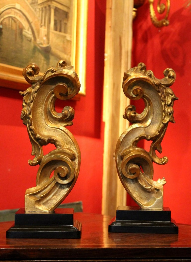 Elegantly hand carved in deep relief and gilt with gold leaves, these Italian giltwood fragments feature an S-shape rich in scrolls, leaf and flowers motifs. Water shiny and matte gilt alternates in these 18th century Rococo gilded wood fragments