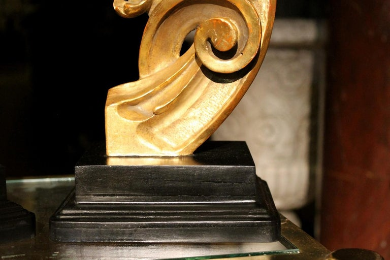 Hand-Carved 18th Century Italian Hand Carved Architectural Giltwood Fragments on Black Stand For Sale