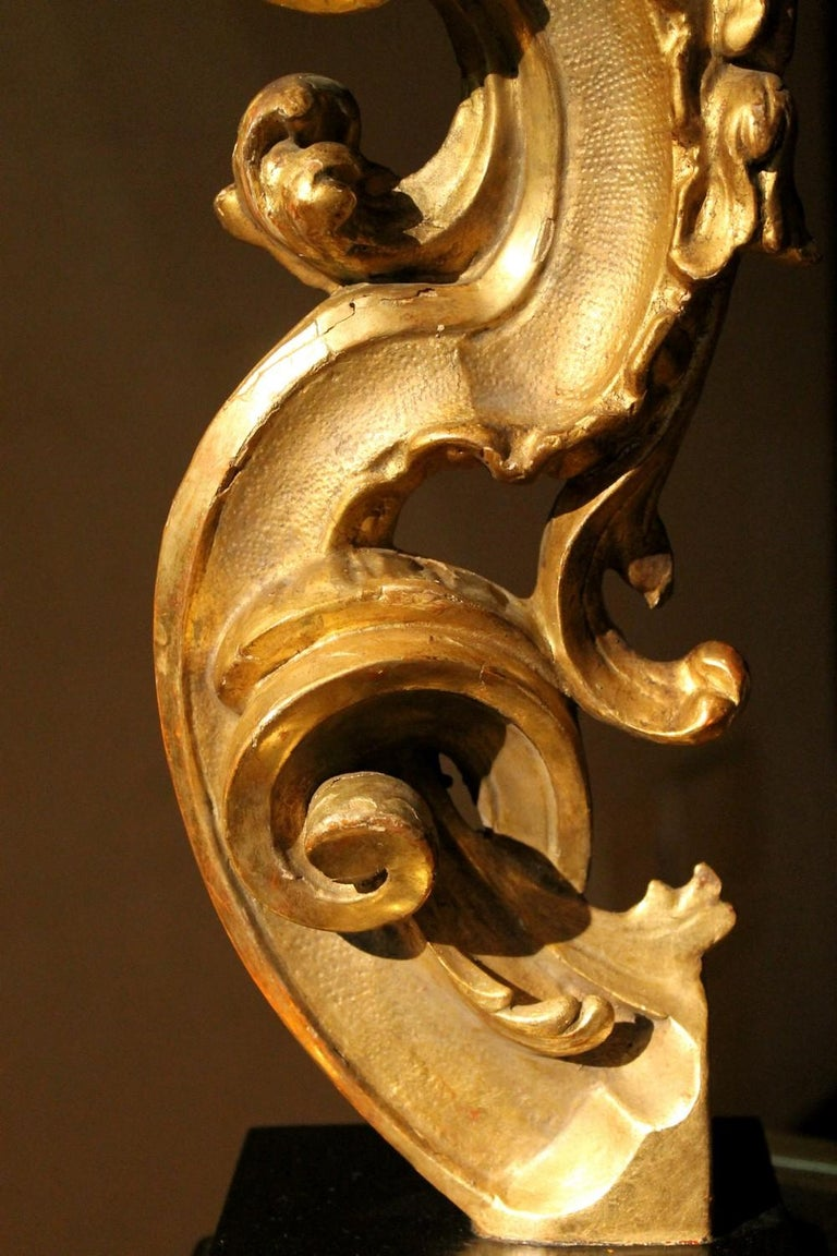 18th Century and Earlier 18th Century Italian Hand Carved Architectural Giltwood Fragments on Black Stand For Sale