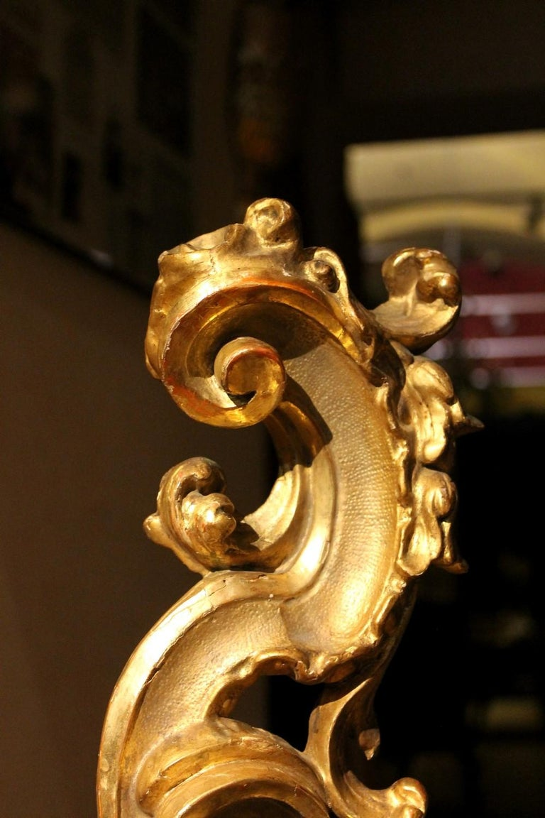 Wood 18th Century Italian Hand Carved Architectural Giltwood Fragments on Black Stand For Sale