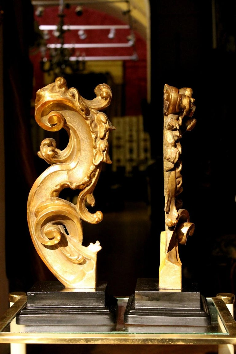 18th Century Italian Hand Carved Architectural Giltwood Fragments on Black Stand For Sale 2