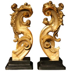 18th Century Italian Hand Carved Architectural Giltwood Fragments on Black Stand