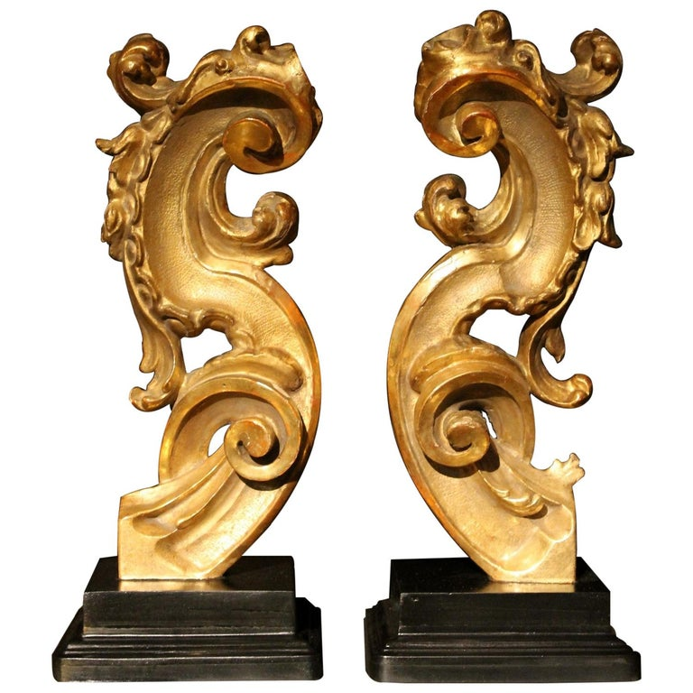 18th Century Italian Hand Carved Architectural Giltwood Fragments on Black Stand For Sale