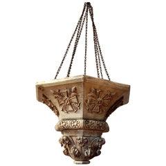 18th Century Italian Hand Carved Oak Lantern