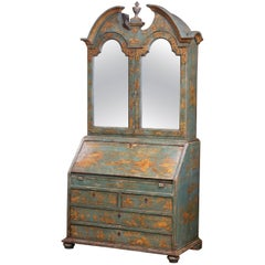 18th Century Italian Hand Painted Secretary Bookcase with Chinoiserie Decor