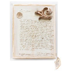 18th Century Italian Handwritten Letter with a Fragment and Crystals on Lucite