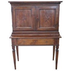 18th Century Italian Inlaid Walnut Secretaire