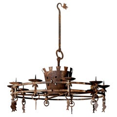 18th Century Italian Iron Chandelier