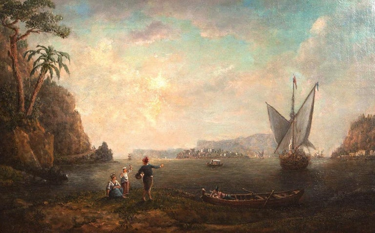 Very nice Italian landscape attributed to William Marlow (1740-1813). Unsigned, typical of Marlow's work, period canvas or stretcher in a fine gilt frame engraved with the artists name.   William Marlow was born in Southwark, London. He spent