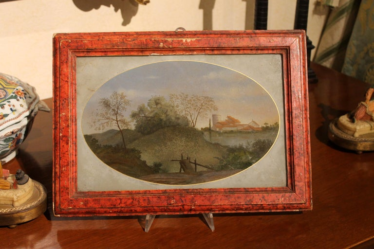 18th Century Italian Landscape Oil Painting on Glass with Red Lacquer Frame For Sale 4