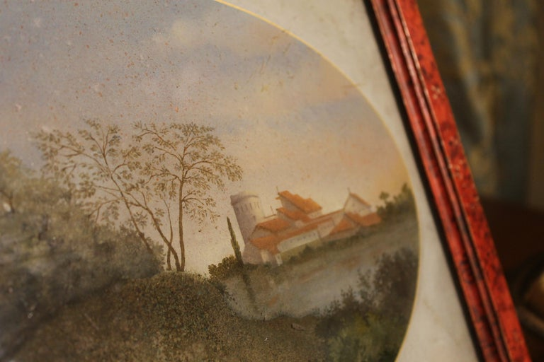 18th Century Italian Landscape Oil Painting on Glass with Red Lacquer Frame For Sale 6