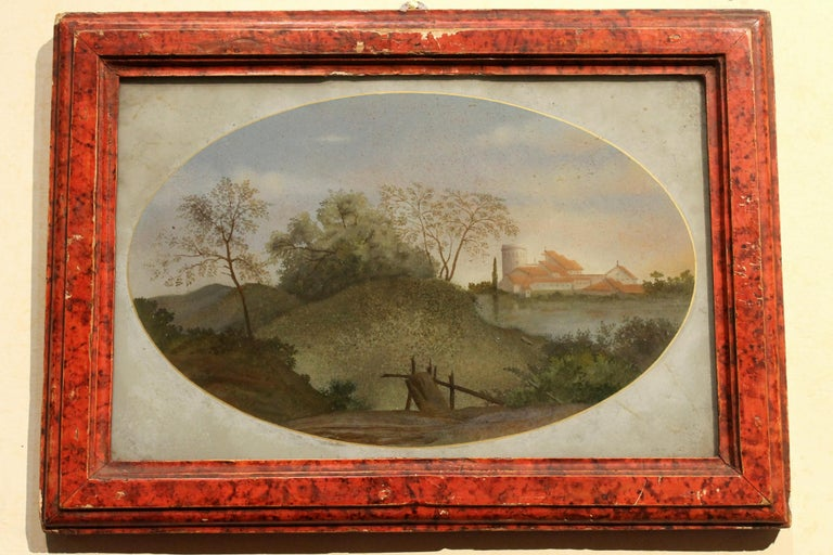 18th Century Italian Landscape Oil Painting on Glass with Red Lacquer Frame For Sale 7