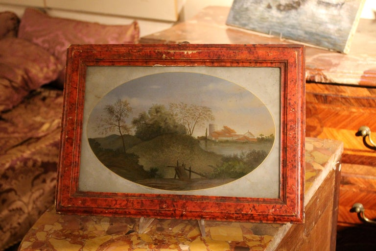 Rococo 18th Century Italian Landscape Oil Painting on Glass with Red Lacquer Frame For Sale