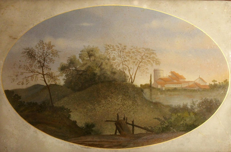 Lacquered 18th Century Italian Landscape Oil Painting on Glass with Red Lacquer Frame For Sale
