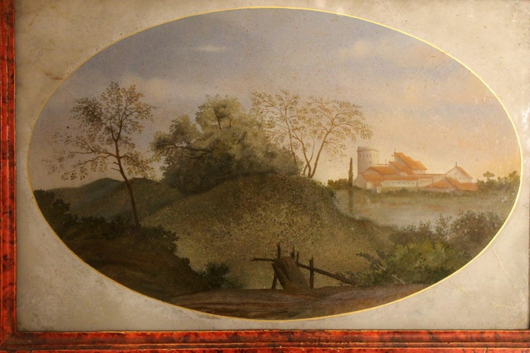 18th Century Italian Landscape Oil Painting on Glass with Red Lacquer Frame In Good Condition For Sale In Firenze, IT