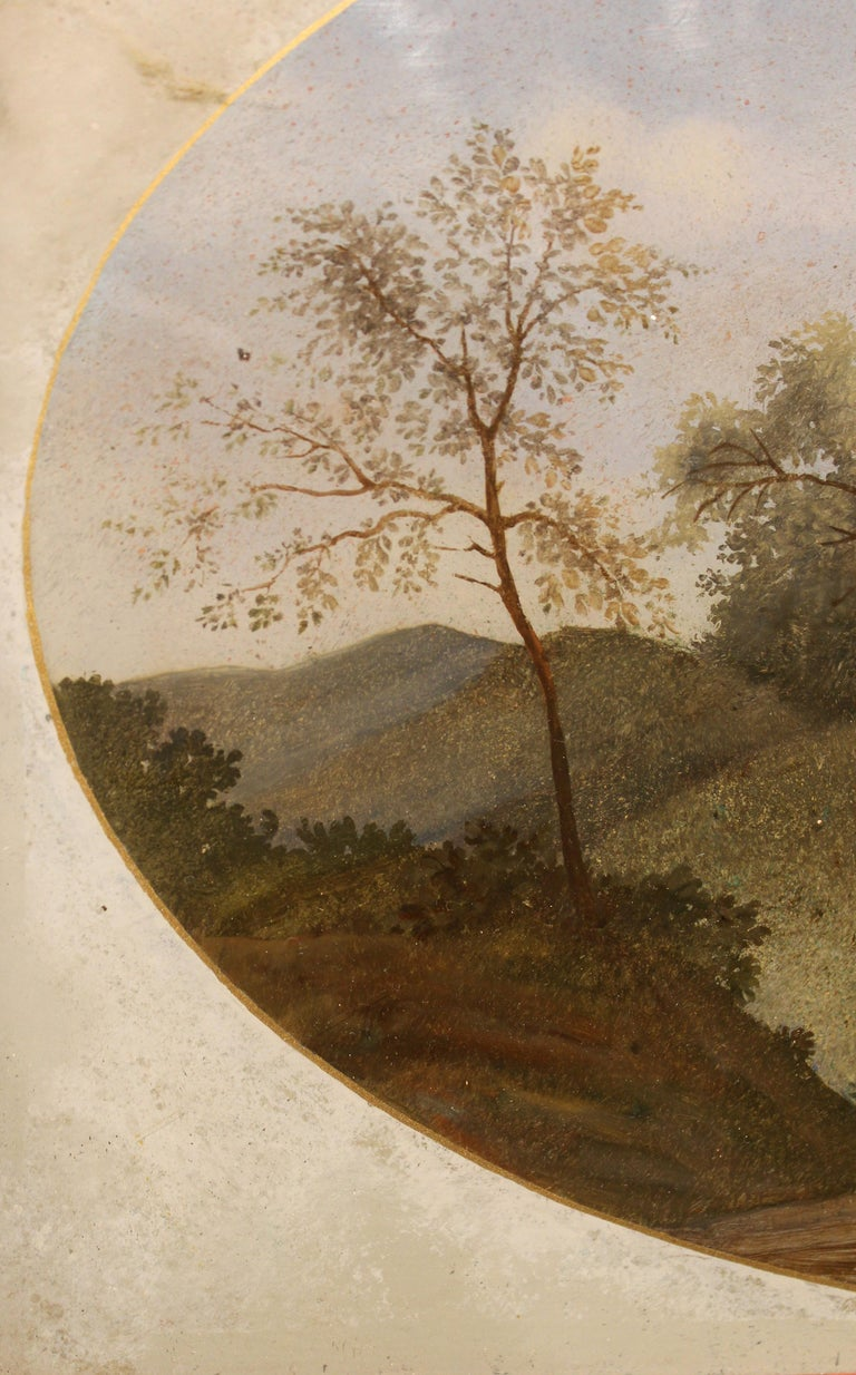 18th Century Italian Landscape Oil Painting on Glass with Red Lacquer Frame For Sale 1