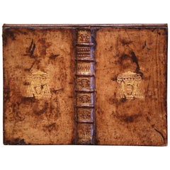 18th Century Italian Leather Documents Binder with Embossed Vatican Coat of Arms