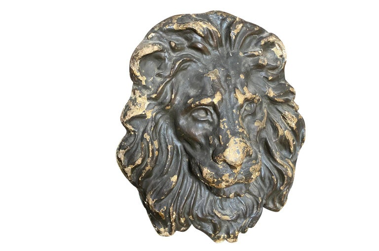 An outstanding 18th century lion head Blason, crest expertly crafted from wood and Papier Mache. This exceptional piece origins from the Lucca region. Super patina. A fabulous art piece for any interior.