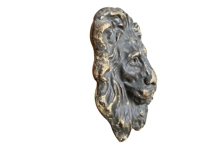Wood 18th Century Italian Lion Head For Sale