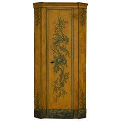 18th Century, Italian Louis XIV Lacquered Wood Corner Cabinet