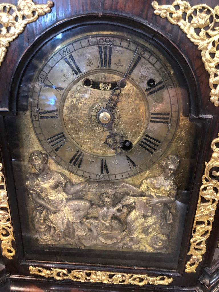 18th Century Italian Louis XV Breguet Clock Signed Walnut Gilt Bronze, 1740s For Sale 6