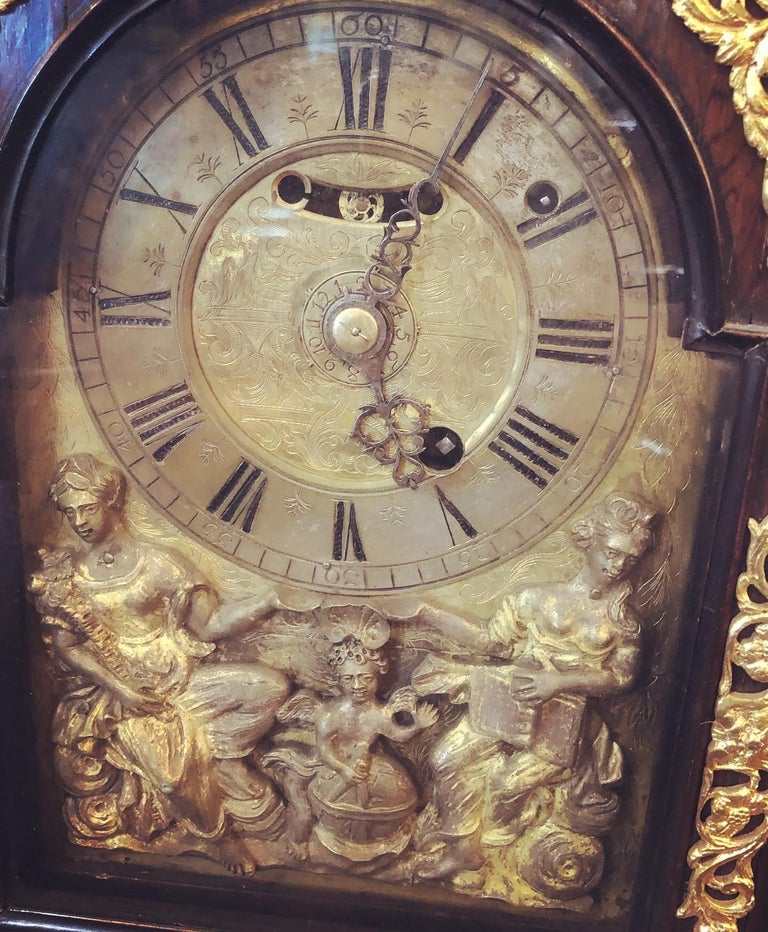 18th Century Italian Louis XV Breguet Clock Signed Walnut Gilt Bronze, 1740s In Good Condition For Sale In Roma, RM
