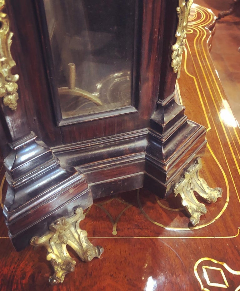 Mid-18th Century 18th Century Italian Louis XV Breguet Clock Signed Walnut Gilt Bronze, 1740s For Sale