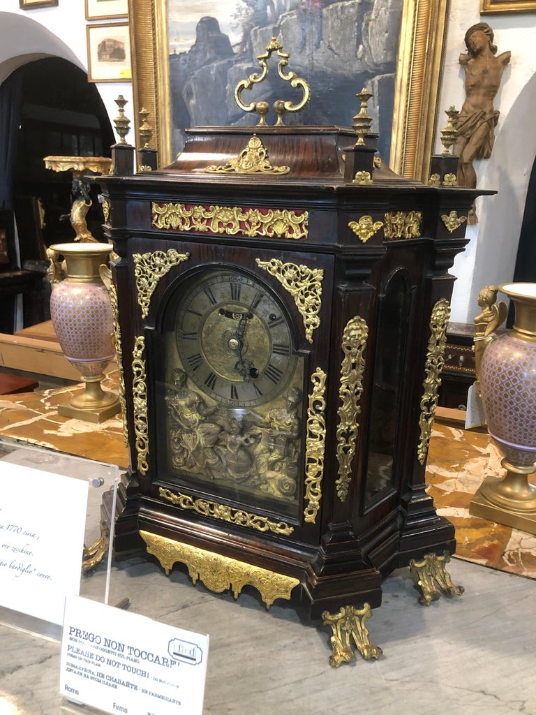 18th Century Italian Louis XV Breguet Clock Signed Walnut Gilt Bronze, 1740s For Sale 4