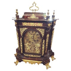 18th Century Italian Louis XV Breguet Clock Signed Walnut Gilt Bronze, 1740s