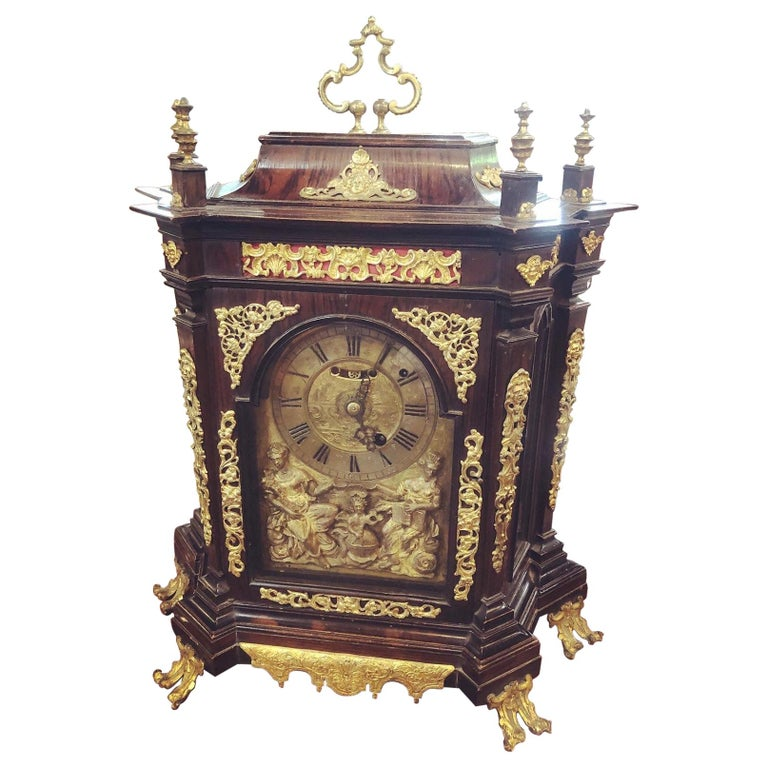 18th Century Italian Louis XV Breguet Clock Signed Walnut Gilt Bronze, 1740s For Sale