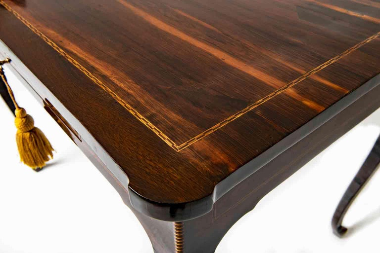 Boxwood 18th Century Italian Louis XV Centre Table Rosewood Inlaid Rectangular Desk For Sale